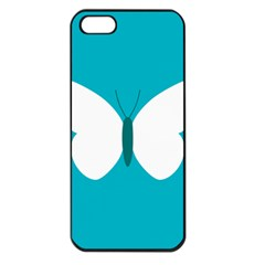 Little Butterfly Illustrations Animals Blue White Fly Apple Iphone 5 Seamless Case (black)
