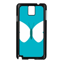Little Butterfly Illustrations Animals Blue White Fly Samsung Galaxy Note 3 N9005 Case (black)