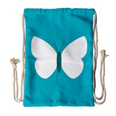 Little Butterfly Illustrations Animals Blue White Fly Drawstring Bag (large)
