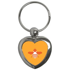 Littlebutterfly Illustrations Bee Wasp Animals Orange Honny Key Chains (heart)