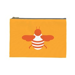 Littlebutterfly Illustrations Bee Wasp Animals Orange Honny Cosmetic Bag (large)