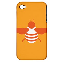 Littlebutterfly Illustrations Bee Wasp Animals Orange Honny Apple Iphone 4/4s Hardshell Case (pc+silicone)