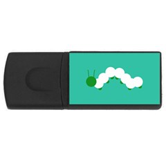 Little Butterfly Illustrations Caterpillar Green White Animals Usb Flash Drive Rectangular (4 Gb)