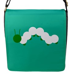 Little Butterfly Illustrations Caterpillar Green White Animals Flap Messenger Bag (s)