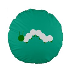 Little Butterfly Illustrations Caterpillar Green White Animals Standard 15  Premium Flano Round Cushions