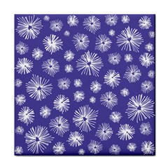 Aztec Lilac Love Lies Flower Blue Tile Coasters by Alisyart