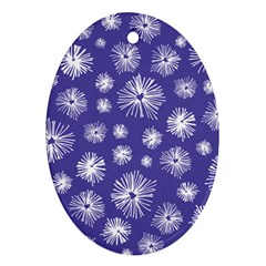 Aztec Lilac Love Lies Flower Blue Oval Ornament (two Sides) by Alisyart