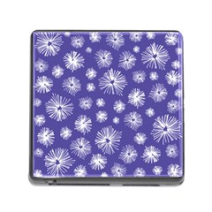 Aztec Lilac Love Lies Flower Blue Memory Card Reader (square) by Alisyart
