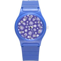 Aztec Lilac Love Lies Flower Blue Round Plastic Sport Watch (s) by Alisyart
