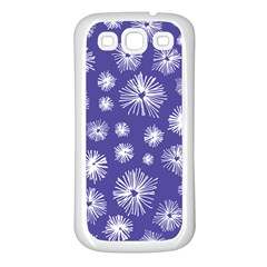 Aztec Lilac Love Lies Flower Blue Samsung Galaxy S3 Back Case (white)