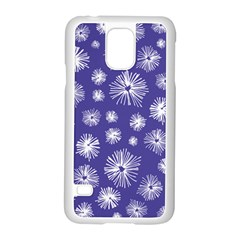 Aztec Lilac Love Lies Flower Blue Samsung Galaxy S5 Case (white)