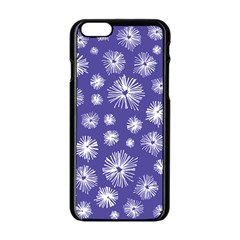 Aztec Lilac Love Lies Flower Blue Apple Iphone 6/6s Black Enamel Case by Alisyart