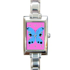 Pink Blue Butterfly Animals Fly Rectangle Italian Charm Watch