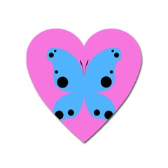 Pink Blue Butterfly Animals Fly Heart Magnet
