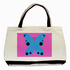 Pink Blue Butterfly Animals Fly Basic Tote Bag