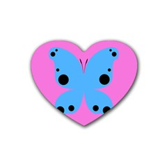 Pink Blue Butterfly Animals Fly Rubber Coaster (heart)  by Alisyart