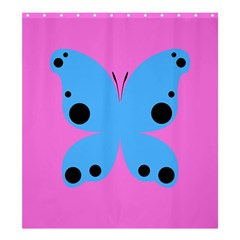 Pink Blue Butterfly Animals Fly Shower Curtain 66  X 72  (large)  by Alisyart