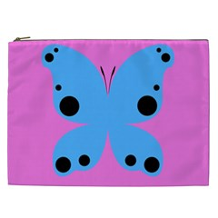 Pink Blue Butterfly Animals Fly Cosmetic Bag (xxl)