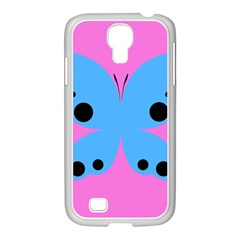Pink Blue Butterfly Animals Fly Samsung Galaxy S4 I9500/ I9505 Case (white) by Alisyart