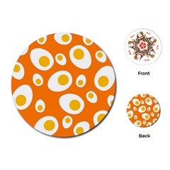 Orange Circle Egg Playing Cards (round)