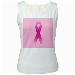 Pink Breast Cancer Symptoms Sign Women s White Tank Top