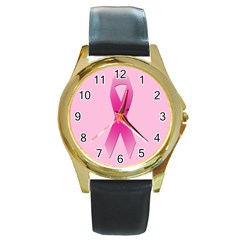 Pink Breast Cancer Symptoms Sign Round Gold Metal Watch by Alisyart
