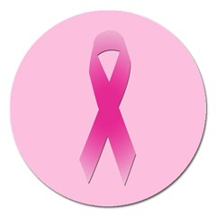 Pink Breast Cancer Symptoms Sign Magnet 5  (round) by Alisyart