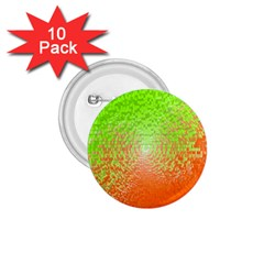 Plaid Green Orange White Circle 1 75  Buttons (10 Pack)