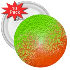 Plaid Green Orange White Circle 3  Buttons (10 Pack)  by Alisyart