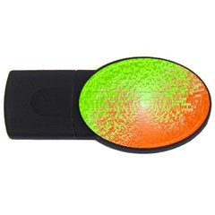 Plaid Green Orange White Circle Usb Flash Drive Oval (4 Gb) by Alisyart