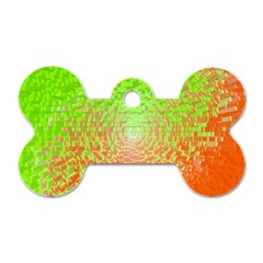 Plaid Green Orange White Circle Dog Tag Bone (one Side) by Alisyart