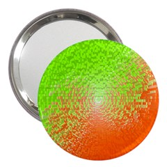 Plaid Green Orange White Circle 3  Handbag Mirrors by Alisyart