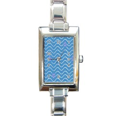 Springtime Wave Blue White Purple Floral Flower Rectangle Italian Charm Watch by Alisyart