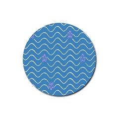 Springtime Wave Blue White Purple Floral Flower Rubber Coaster (round)  by Alisyart