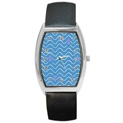Springtime Wave Blue White Purple Floral Flower Barrel Style Metal Watch