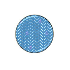 Springtime Wave Blue White Purple Floral Flower Hat Clip Ball Marker by Alisyart