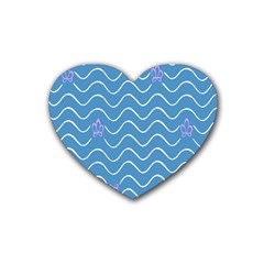 Springtime Wave Blue White Purple Floral Flower Heart Coaster (4 Pack)  by Alisyart