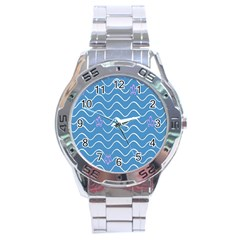 Springtime Wave Blue White Purple Floral Flower Stainless Steel Analogue Watch