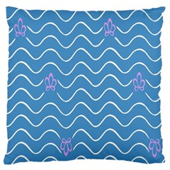 Springtime Wave Blue White Purple Floral Flower Large Cushion Case (one Side) by Alisyart