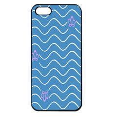 Springtime Wave Blue White Purple Floral Flower Apple Iphone 5 Seamless Case (black)