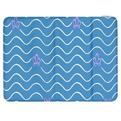 Springtime Wave Blue White Purple Floral Flower Samsung Galaxy Tab 7  P1000 Flip Case