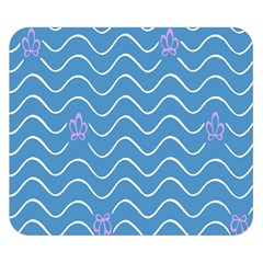 Springtime Wave Blue White Purple Floral Flower Double Sided Flano Blanket (small)  by Alisyart