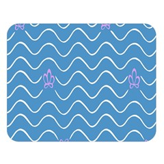Springtime Wave Blue White Purple Floral Flower Double Sided Flano Blanket (large)  by Alisyart