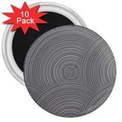 Circular Brushed Metal Bump Grey 3  Magnets (10 Pack)  by Alisyart