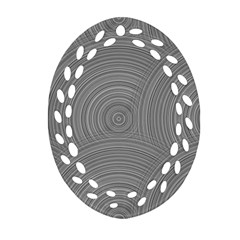 Circular Brushed Metal Bump Grey Oval Filigree Ornament (two Sides)