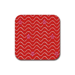 Springtime Wave Red Floral Flower Rubber Coaster (square)  by Alisyart