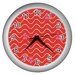 Springtime Wave Red Floral Flower Wall Clocks (silver)