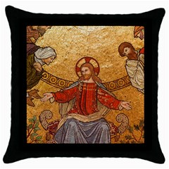 Gold Jesus Throw Pillow Case (black) by boho