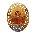 Gold Jesus Ornament (Oval Filigree) Front