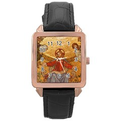 Gold Jesus Rose Gold Leather Watch  by boho